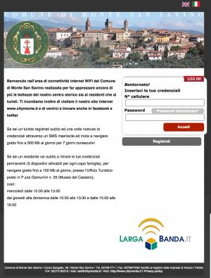 Schermata Captive Portal Comune di Monte San Savino